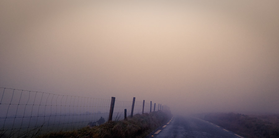 foggy fence in Ireland